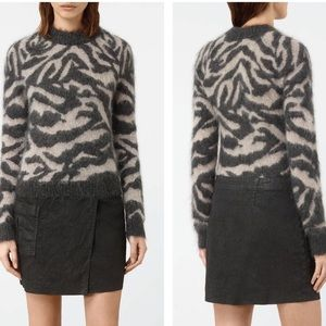 AllSaints Quant Cropped Tiger Sweater Charcoal XS